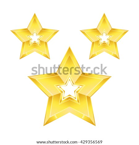 Gold star isolated vector for design