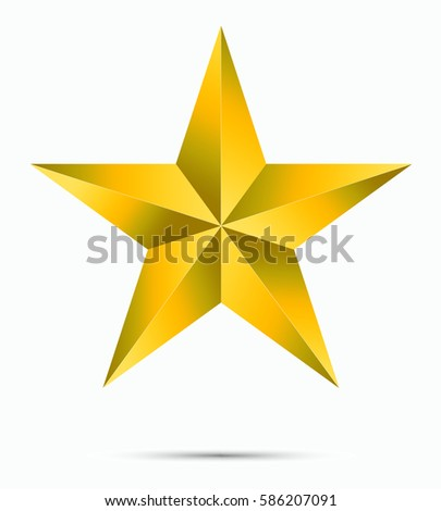 Gold star shape isolated on white background with reflection shadow. Trendy vector decoration symbol for website design, mobile app. Logo illustration. vector illustration