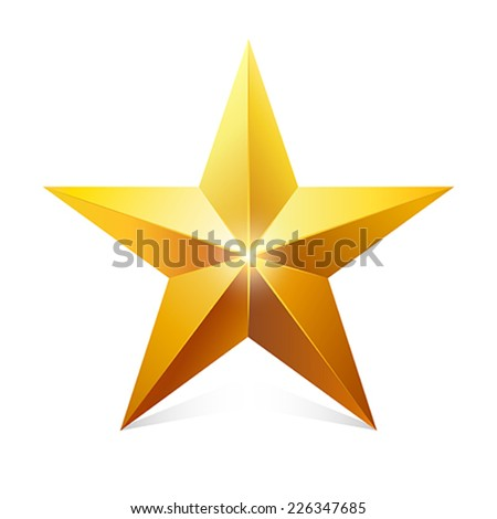 Gold star.     Vector Illustration.