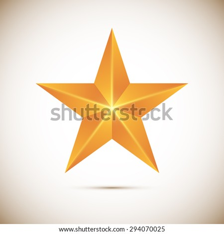 Gold star Vector illustration isolated on white background - stock vector