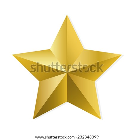 Gold star. Vector, isolated object on white background - stock vector