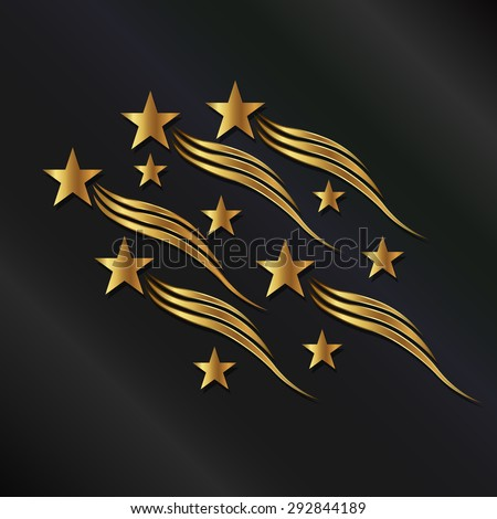 Gold stars waves - stock vector