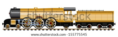 gold steam locomotive with wagon, vector illustration  - stock vector