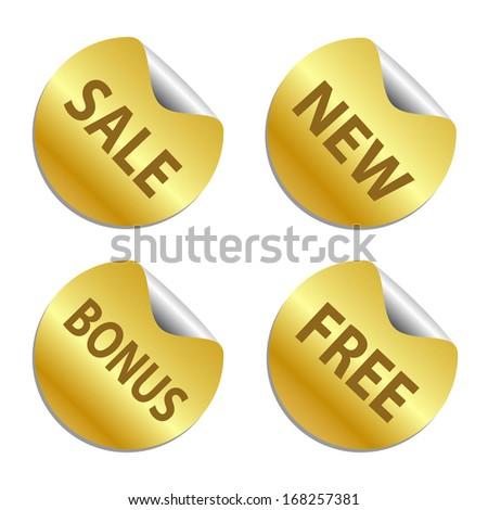 Gold sticker set. - stock vector