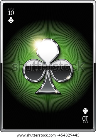 "Gold suit symbol ""clubs"" for the design of playing cards and the design of the casino sites. Eps 10"