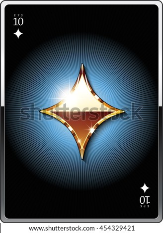 "Gold suit symbol ""diamonds"" for the design of playing cards and the design of the casino sites. Eps 10"