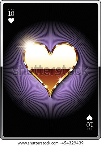"""Gold suit symbol """"heart"""" for the design of playing cards and the design of the casino sites. Eps 10 - stock vector"""