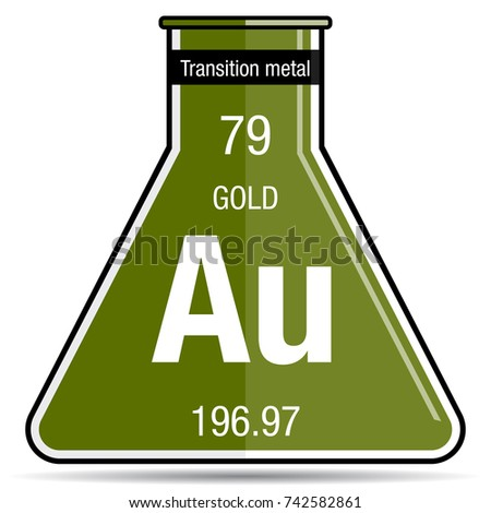 Gold symbol on chemical flask element stock vector 742582861 gold symbol on chemical flask element number 79 of the periodic table of the elements urtaz Image collections