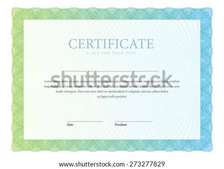 Gold template horizontal Certificate and diplomas. Vector - stock vector