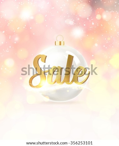 Gold template over pink background with golden sparks. Sale text over snow background. Market sign. Gold template over pink background with golden sparks. Vector illustration. - stock vector