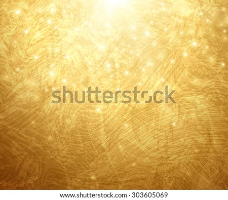Gold Textured Background. Vector Illustration. Shining Christmas or New Year Backdrop. Golden Sunrays with Lights and Sparkles. Place for Your Text Message. Gold Paint Glowing Texture. - stock vector
