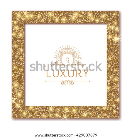 Gold Textured Frame. Shining Element. Luxury Design. Vector illustration - stock vector