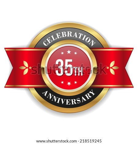 Gold 35th anniversary badge with red ribbon on white background