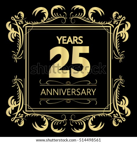 Gold 25th Years Anniversary And Celebration Logo Sign In Frame Vector Illustration