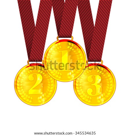 Gold the First, Second and Third place Award Medals with Ribbons. Vector Illustration
