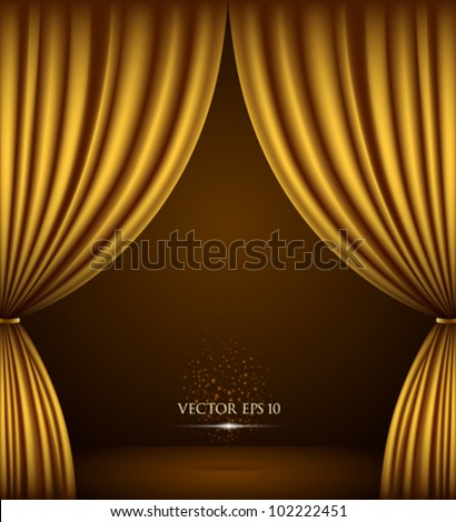 Gold theater curtain classic background. vector illustration