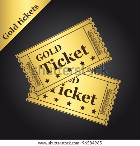 gold tickets over black background. vector illustration - stock vector
