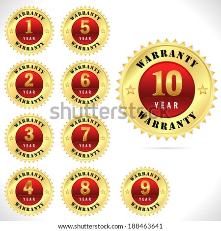 gold top quality warranty badge from 1 to 10 year- vector eps 10 - stock vector
