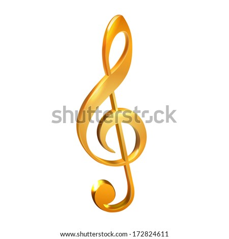 Gold treble clef on white- vector illustration - stock vector