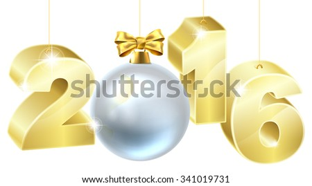 Gold tree bauble ball decoration ornaments and 2016 New Year or Christmas design.