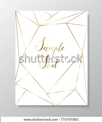 Gold triangles. Geometric shapes. Golden polygonal texture. Modern template for creative designs, card, invitation, party, birthday, wedding, anniversary, save the date, business. Place your text.
