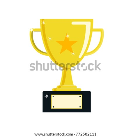 Gold Trophy Cup IconChampions Flat Design Vector
