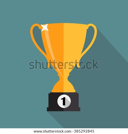 Gold Trophy Cup Winner Vector Illustration EPS10 - stock vector