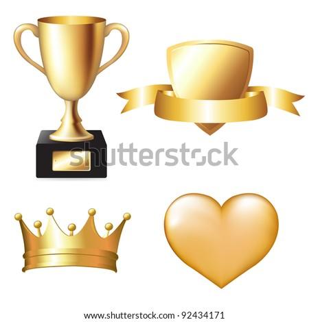 Gold Trophy Set, Vector Illustration - stock vector