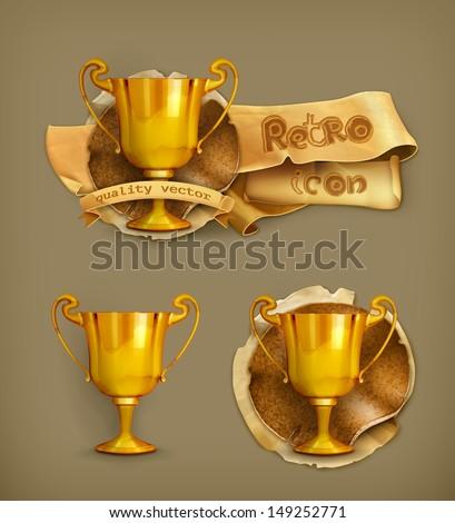 Gold trophy, vector icon - stock vector