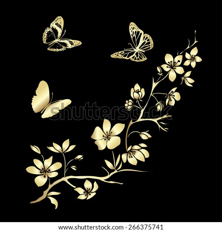 Gold twig sakura blossoms and butterflies. Vector illustration - stock vector