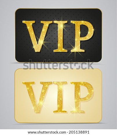 Gold two cards with text vip - stock vector