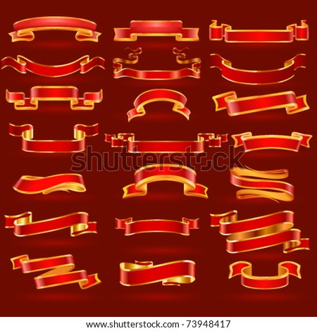 Gold vector banner set on red background