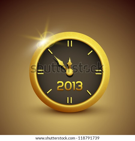 Gold vector clock illustrations 2013 new year - stock vector