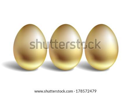 Gold Vector Egg Concept. Unique golden eggs - stock vector