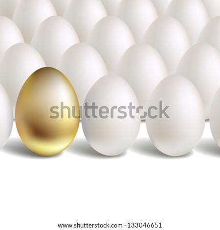 Gold Vector Egg Concept. White and unique golden eggs - stock vector
