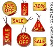 Gold vector sale labels, can be used for web store sale, promotion, background - stock vector