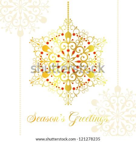 Gold vector snowflake. Christmas card. EPS 10 vector illustration. CMYK. - stock vector