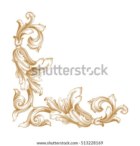 Gold Vintage Baroque Corner Ornament Retro Stock Vector