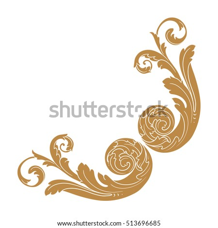Golden Vintage Baroque Ornament Retro Pattern Stock Vector