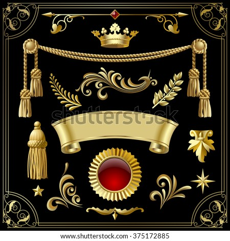 Gold vintage decorative elements for your design isolated on black. Vector illustration - stock vector
