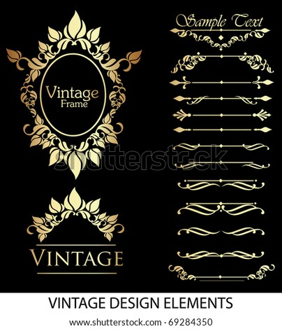 Gold vintage elements for your design - stock vector