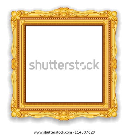 Gold Vintage Frame. Decorative Vector Frame with Place for Text, Picture or Design - stock vector