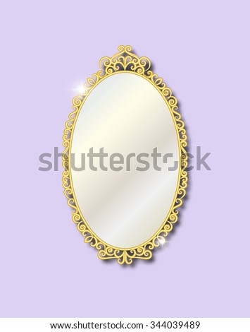 Gold vintage ornate  mirror on a pale lilac background. Vector illustration. - stock vector