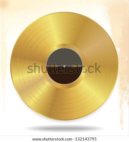 Gold vinyl - music award - stock vector