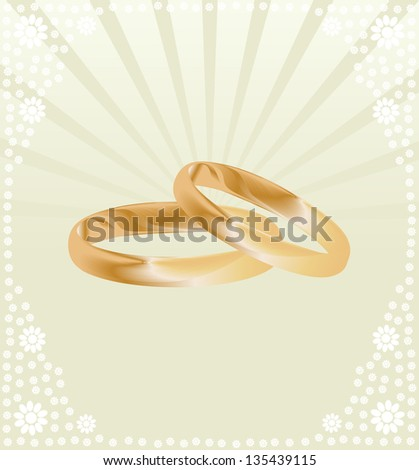 Gold wedding ring vector background concept card - stock vector