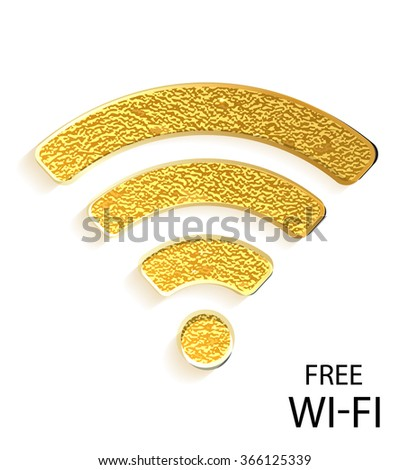 Gold wifi icon on white background. Free wi-fi. Modern technologies. Vector illustration. Gold - stock vector