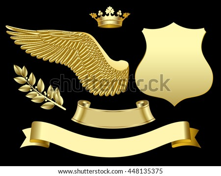Gold wing, crown, sign, ribbon and laurel branch. Classic design elements. Vector illustration - stock vector