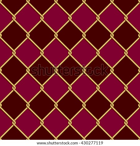 Gold wire grid seamless pattern on dark red and purple rhomboids background. Vector illustration  - stock vector