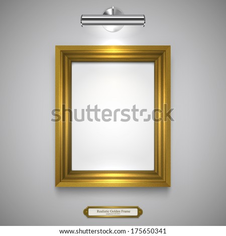 Gold Wood Frame for Picture and Lamp on a Wall, Vector Illustration  - stock vector