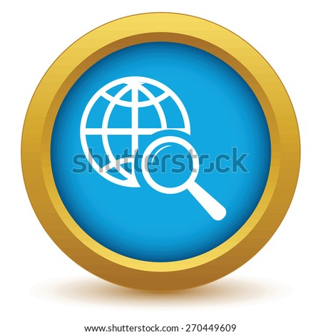 Gold world scan icon on a white background. Vector illustration